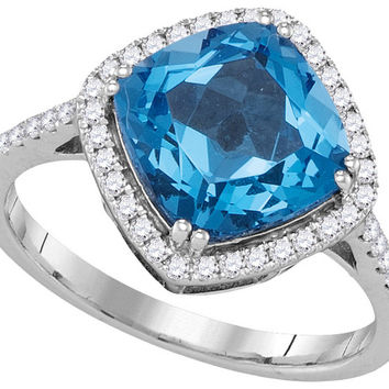 14kt White Gold Womens Cushion Blue Topaz Solitaire Diamond Halo Ring 3-7/8 Cttw 105023