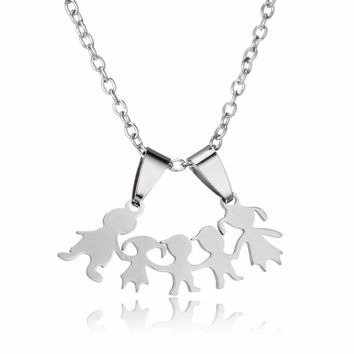 Stainless Steel Family Love Two Sons Daughter Parents Pendants Chain Necklace Mom Dad Gifts Boys Girls Mothers Fathers Necklaces