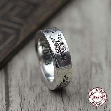 S925 pure silver men's ring Restoring ancient ways is unique ring of the holy sword is an old couple punk style Gift your lover