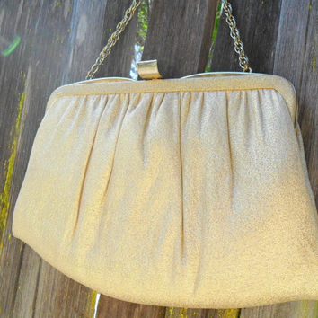 Vintage Gold Lame Clutch Purse / Mid Century Handbag