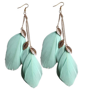 Romantic Zinc Alloy Feather Drop Earrings For Women