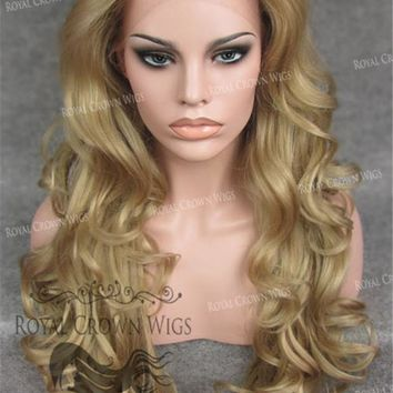 "26 inch Heat Safe Synthetic Lace Front in Curly Texture ""Calypso"" in Blonde Mix"