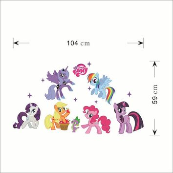 horse cartoon stickers decoration animals roles decal girls mural .