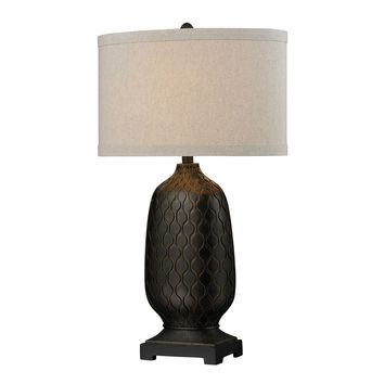Bronze Oval Table Lamp with Hand Carved Accents
