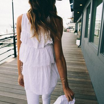 Ruffle Back Tank- White