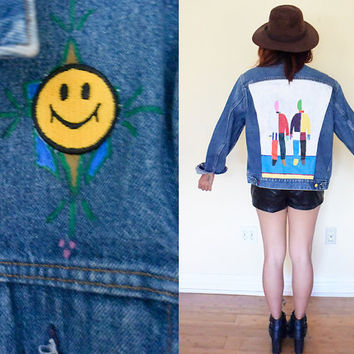 Vintage Levi's hand-painted denim jeans jacket smily patch