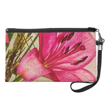 Pink Lilies Petals with Brown Twigs Wristlet