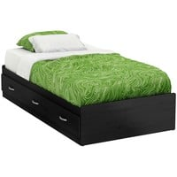 Twin Size Black Platform Bed Frame with 3 Storage Drawers