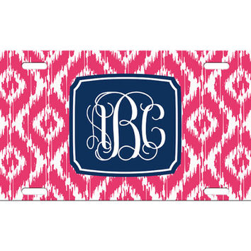 Custom Personalized License Plate Car Tag Preppy Ikat Vine Monogram Sorority 16th Birthday Girls Gift Aluminum Front Car Plate LP-1001