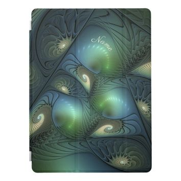 Cool Spirals Beige Green Turquoise Fractal Name iPad Pro Cover