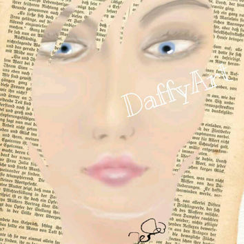 Lost in a book 'Viona' is hand painted digitally and merged into a page. Sold as a Mounted Print