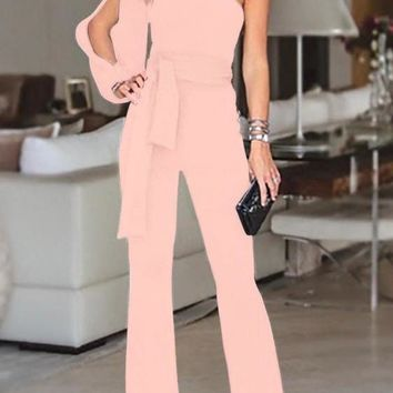 Pink Asymmetric Shoulder Cut Out Drawstring Waist Long Jumpsuit