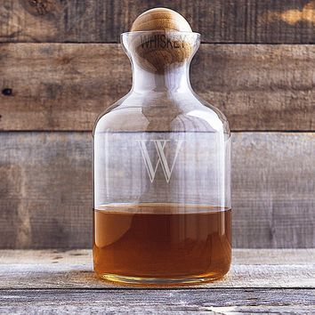 Personalized 56 oz. Glass Decanter with Wood Stopper