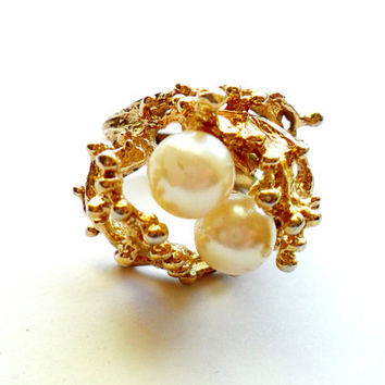 Vintage Faux Pearl Coral Branch Ring Brutalist Modernist Mermaid Gold Plated Size 5 Cocktail Statement Fantasy