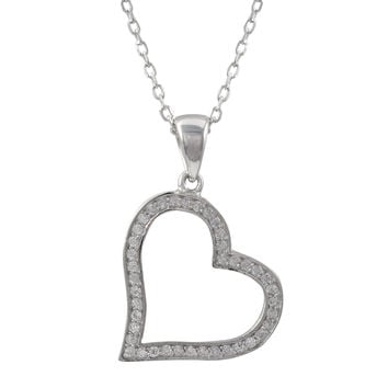 Rhodium Plated Sterling Silver, 16x17mm Open Heart CZ Pendant On Rhodium Plated Sterling Silver Chain Necklace