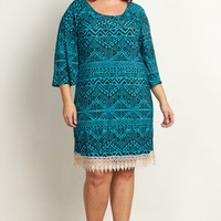 Teal-Tribal-Print-Lace-Trim-Plus-Size-Dress