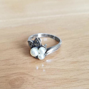 Marcasite and Pearl Ring - Marcasite Flower Ring - Vintage Pearl Ring Size 6.75 - Vintage Signed BOMA Sterling Ring