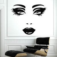 Makeup Wall Decal Vinyl Sticker Decals Home Decor Mural Make Up Girl Eyes Woman Fashion Cosmetic Hairdressing Hair Beauty Salon Decor SV6032