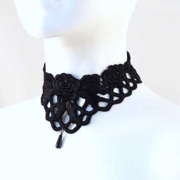 Intricate Black Lace Choker with Teardrop Glass Bead - Gothic / Victorian Mourning Style - Necklace,, Jewelry for Goth, Vampire, Costumes