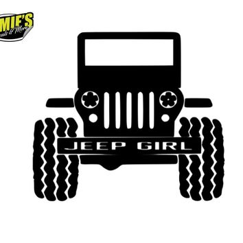 Jeep Girl Grill - Jeep Decal - Color Options - Size Options - Magents