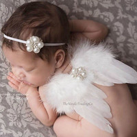 Tiny White Angel Wings and Headband Set for Newborn Couture Photo Prop a lovely Heirloom Baby Shower Gift Birth Announcements