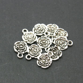 10x13mm 10pcs/lot Flower Charms Pendant Tibetan Silver Plated Jewelry Findings For Jewelry Making Necklaces Bracelets DIY