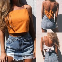 Summer Women Casual Tank Tops Vest Blouse Sleeveless Tie Up Crop Top Shirt Tees
