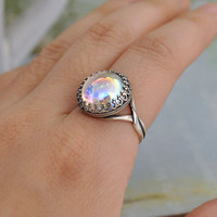 SILVER AURORA antique silver ring with Swarovski ab effect crystal cab