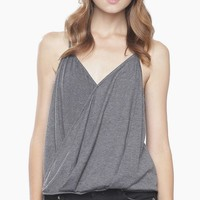 CHARCOAL WRAP JERSEY TOP