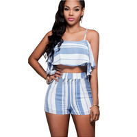 Blue Striped Halter Flounce Collar Top with Shorts