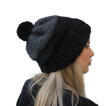 knit beanie hat - black / dark grey knit hat - women hat - rolled brim hat - winter hat - pom pom hat two colors hat