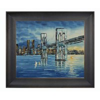 OverstockArt OP1926-FR-939320X24 Brooklyn Bridge, Afternoon in Veine D' Or Bronze Scoop Frame: 20 x 24 Hand Painted Oil Reproduction Framed Canvas Art