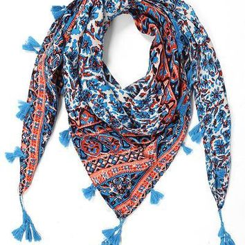Coral and Teal Square Tasseled Global Print Scarf