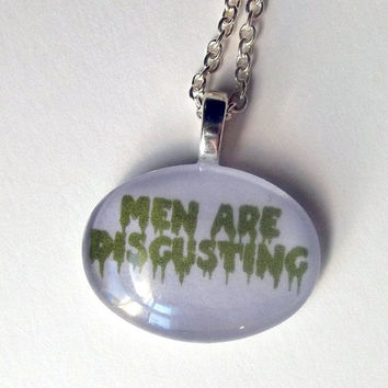 Men Are Disgusting Necklace (green/purple)