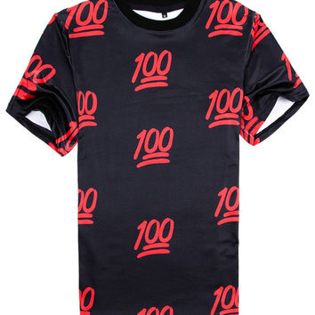 Black 100 Emoji 3D Print Short Sleeve Graphic T-shirt