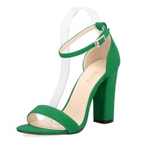 Soft Leather Ankle Strap Heels