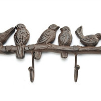 CAST IRON BIRD AND BRANCH WALL DECOR W/ 4-HOOKS