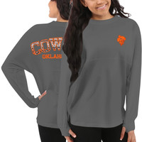 Oklahoma State Cowboys Women's Aztec Sweeper Long Sleeve Top – Gray
