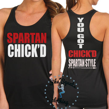 Spartan Chick'd Spartan Style Tank Top, gym tank, performance tank, running tank, running tank top, mud and mascara