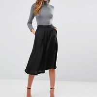 Mango Satin Midi Skirt at asos.com