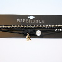 "Licensed cool Riverdale 3-Tier Faux Pearl & ""R"" Charm Black Cord Choker Pendant Necklace NWT"
