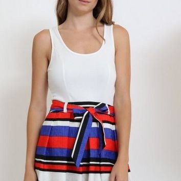 sleeveless fit and flare striped dress