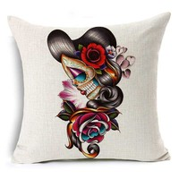 Sugar Skull Cushion Cover Punk Skull Flower Skull Home Decorative