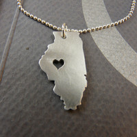 I Heart  ILLINOIS SPRINGFIELD   aluminum handmade necklace