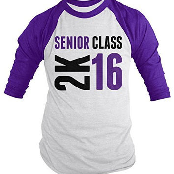 Shirts By Sarah Men's Senior Class 2K 16 2016 Seniors 3/4 Sleeve Raglan Shirt
