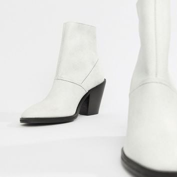 ASOS DESIGN Elexis leather ankle sock boots at asos.com