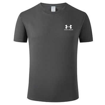 Under Armour Tide brand men's and women's solid color wild sports round neck T-shirt Dark grey