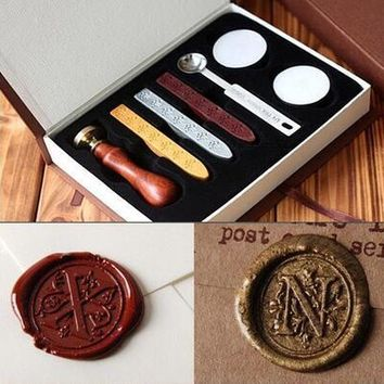 New Vintage wood Alphabet Badge Seal Stamp Wax Kit Set for diy scrapbooking stamp wedding invitations Envelope gifts