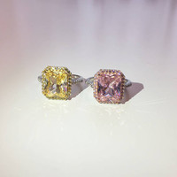 GIOIA RING | Engagement Ring, Halo Ring, Pink Ring, Promise Ring