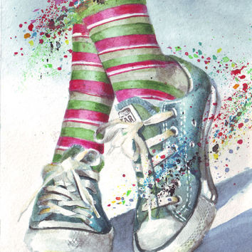 HM046 Original watercolor art painting Chuck illustration of Converse All Stars by Helga McLeod